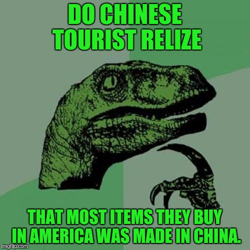 Philosoraptor Meme | DO CHINESE TOURIST RELIZE THAT MOST ITEMS THEY BUY IN AMERICA WAS MADE IN CHINA. | image tagged in memes,philosoraptor | made w/ Imgflip meme maker
