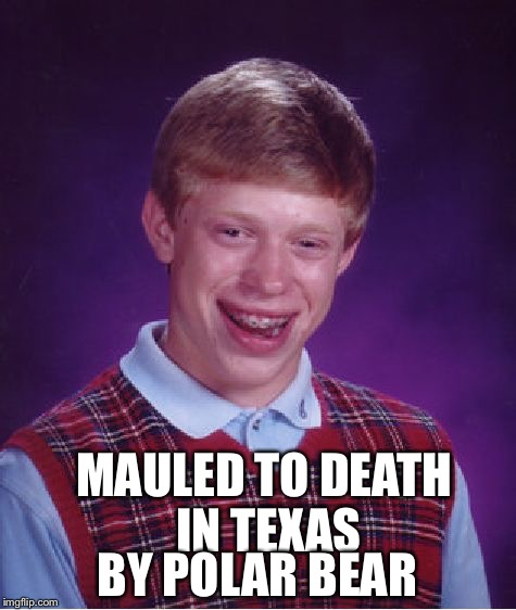 Bad Luck Brian Meme | MAULED TO DEATH IN TEXAS BY POLAR BEAR | image tagged in memes,bad luck brian | made w/ Imgflip meme maker
