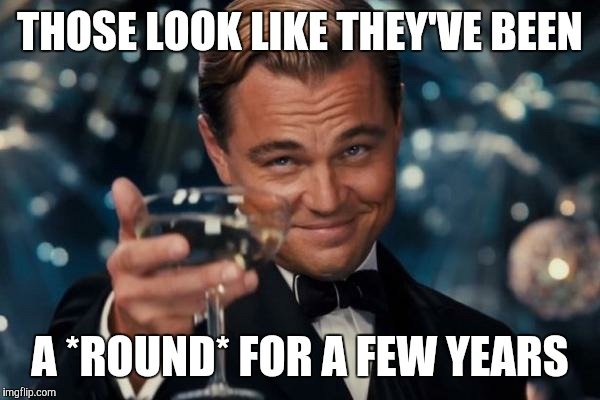 Leonardo Dicaprio Cheers Meme | THOSE LOOK LIKE THEY'VE BEEN A *ROUND* FOR A FEW YEARS | image tagged in memes,leonardo dicaprio cheers | made w/ Imgflip meme maker