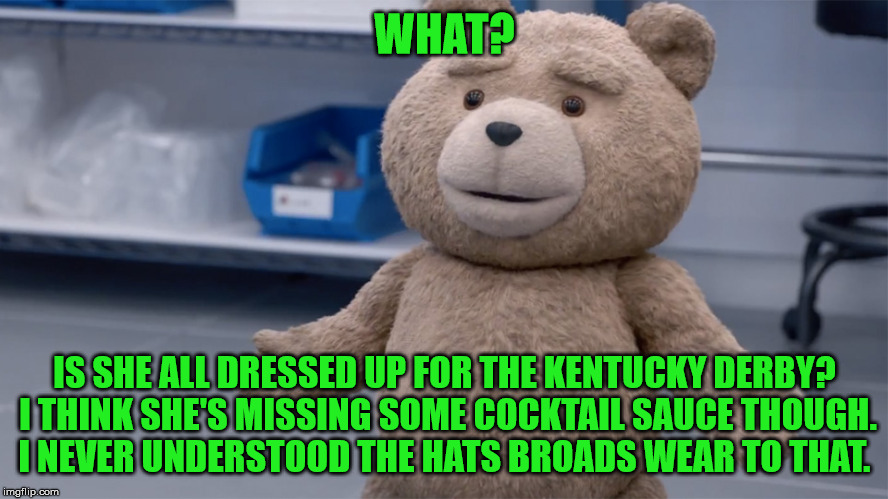 WHAT? IS SHE ALL DRESSED UP FOR THE KENTUCKY DERBY? I THINK SHE'S MISSING SOME COCKTAIL SAUCE THOUGH. I NEVER UNDERSTOOD THE HATS BROADS WEA | image tagged in ted question | made w/ Imgflip meme maker
