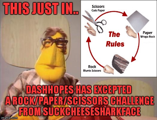 Link to the meme in the comments... | THIS JUST IN.. DASHHOPES HAS EXCEPTED A ROCK/PAPER/SCISSORS CHALLENGE FROM SUCKCHEESESHARKFACE | image tagged in dashhopes,suckcheesesharkface,rock paper scissors,challenge accepted,meanwhile on imgflip | made w/ Imgflip meme maker