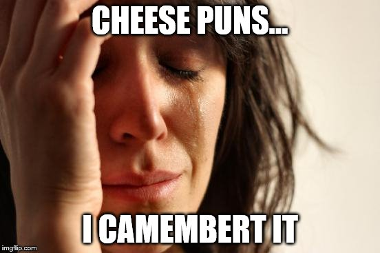 First World Problems Meme | CHEESE PUNS... I CAMEMBERT IT | image tagged in memes,first world problems | made w/ Imgflip meme maker