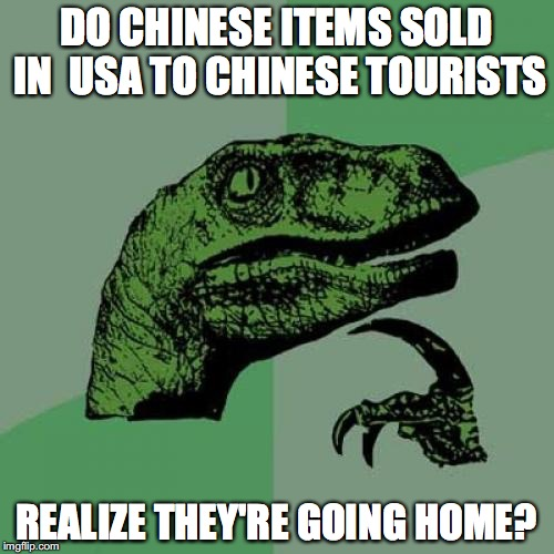 Philosoraptor Meme | DO CHINESE ITEMS SOLD IN  USA TO CHINESE TOURISTS REALIZE THEY'RE GOING HOME? | image tagged in memes,philosoraptor | made w/ Imgflip meme maker