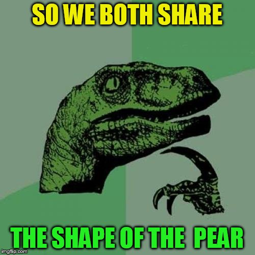 Philosoraptor Meme | SO WE BOTH SHARE THE SHAPE OF THE  PEAR | image tagged in memes,philosoraptor | made w/ Imgflip meme maker