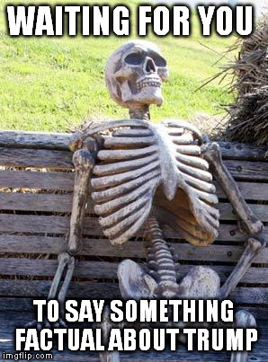 Waiting Skeleton Meme | WAITING FOR YOU TO SAY SOMETHING FACTUAL ABOUT TRUMP | image tagged in memes,waiting skeleton | made w/ Imgflip meme maker