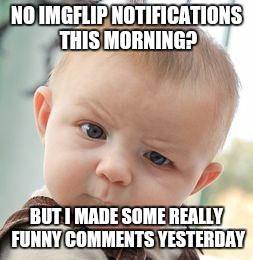 Skeptical Baby Meme | NO IMGFLIP NOTIFICATIONS THIS MORNING? BUT I MADE SOME REALLY FUNNY COMMENTS YESTERDAY | image tagged in memes,skeptical baby | made w/ Imgflip meme maker