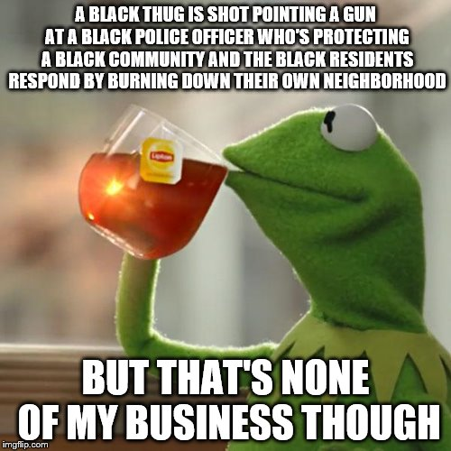 Black Lives Matter | A BLACK THUG IS SHOT POINTING A GUN AT A BLACK POLICE OFFICER WHO'S PROTECTING A BLACK COMMUNITY AND THE BLACK RESIDENTS RESPOND BY BURNING  | image tagged in memes,but thats none of my business,kermit the frog,black lives matter,shot,thug | made w/ Imgflip meme maker
