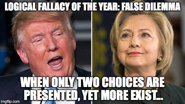 False Dilemma Election | LOGICAL FALLACY OF THE YEAR: FALSE DILEMMA WHEN ONLY TWO CHOICES ARE PRESENTED, YET MORE EXIST... | image tagged in hillary,trump,election,president 2016 | made w/ Imgflip meme maker