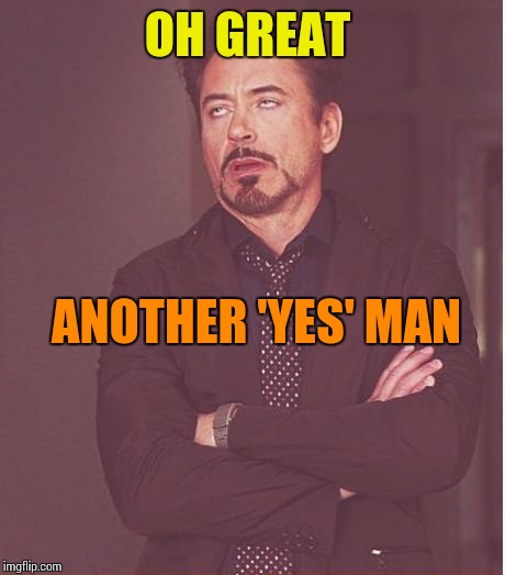 Face You Make Robert Downey Jr Meme | OH GREAT ANOTHER 'YES' MAN | image tagged in memes,face you make robert downey jr | made w/ Imgflip meme maker