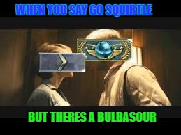 Squirtle vs Bulbasaur |  WHEN YOU SAY GO SQUIRTLE; BUT THERES A BULBASOUR | image tagged in squirtle,go,bulbasaur,gosquirtle,csgo,funny | made w/ Imgflip meme maker
