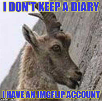 I DON'T KEEP A DIARY I HAVE AN IMGFLIP ACCOUNT | made w/ Imgflip meme maker