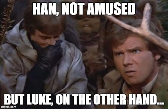 I find your [impersonating a deity] amusing. | HAN, NOT AMUSED BUT LUKE, ON THE OTHER HAND... | image tagged in star wars,return of the jedi,luke skywalker,han solo,not amused | made w/ Imgflip meme maker