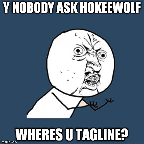 I just noticed. I have been here almost 2 years and have never put a tagline in. | Y NOBODY ASK HOKEEWOLF WHERES U TAGLINE? | image tagged in memes,y u no | made w/ Imgflip meme maker