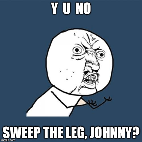 Y U No Meme | Y  U  NO SWEEP THE LEG, JOHNNY? | image tagged in memes,y u no | made w/ Imgflip meme maker