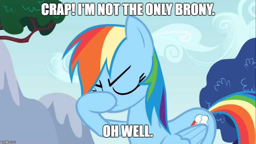 CRAP! I'M NOT THE ONLY BRONY. OH WELL. | made w/ Imgflip meme maker