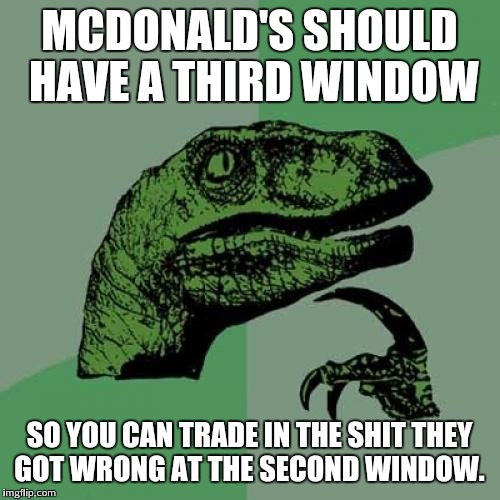 Philosoraptor Meme | MCDONALD'S SHOULD HAVE A THIRD WINDOW SO YOU CAN TRADE IN THE SHIT THEY GOT WRONG AT THE SECOND WINDOW. | image tagged in memes,philosoraptor | made w/ Imgflip meme maker