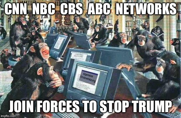 Campaign 2016 Fox News Exclusive | CNN  NBC  CBS  ABC  NETWORKS JOIN FORCES TO STOP TRUMP | image tagged in cnn,abc,msnbc,cbs,trump,memes | made w/ Imgflip meme maker