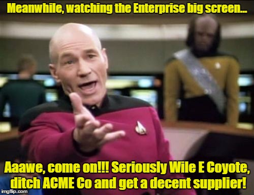 piccard | Meanwhile, watching the Enterprise big screen... Aaawe, come on!!! Seriously Wile E Coyote, ditch ACME Co and get a decent supplier! | image tagged in piccard,memes | made w/ Imgflip meme maker