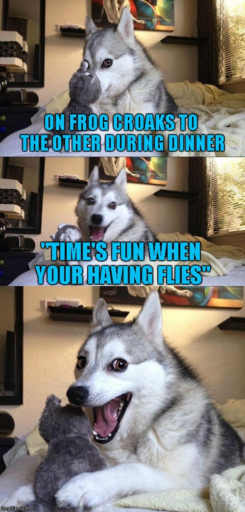 "Bad Pun Dog Meme | ON FROG CROAKS TO THE OTHER DURING DINNER ""TIME'S FUN WHEN YOUR HAVING FLIES"" 