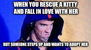 Michael Phelps Rage Face | WHEN YOU RESCUE A KITTY AND FALL IN LOVE WITH HER BUT SOMEONE STEPS UP AND WANTS TO ADOPT HER | image tagged in michael phelps rage face | made w/ Imgflip meme maker