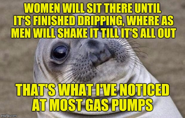 Awkward Moment Sealion Meme | WOMEN WILL SIT THERE UNTIL IT'S FINISHED DRIPPING, WHERE AS MEN WILL SHAKE IT TILL IT'S ALL OUT THAT'S WHAT I'VE NOTICED AT MOST GAS PUMPS | image tagged in memes,awkward moment sealion | made w/ Imgflip meme maker