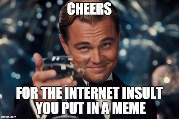 Leonardo Dicaprio Cheers Meme | CHEERS FOR THE INTERNET INSULT YOU PUT IN A MEME | image tagged in memes,leonardo dicaprio cheers | made w/ Imgflip meme maker