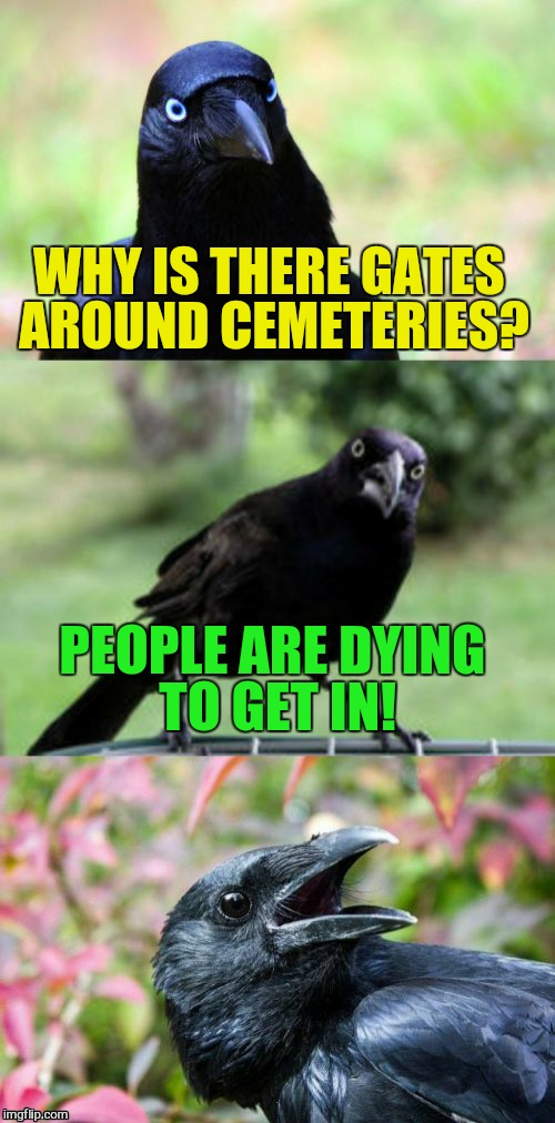 WHY IS THERE GATES AROUND CEMETERIES? PEOPLE ARE DYING TO GET IN! | made w/ Imgflip meme maker