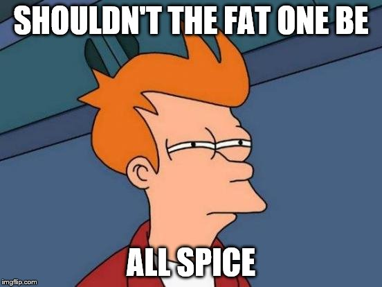 Futurama Fry Meme | SHOULDN'T THE FAT ONE BE ALL SPICE | image tagged in memes,futurama fry | made w/ Imgflip meme maker