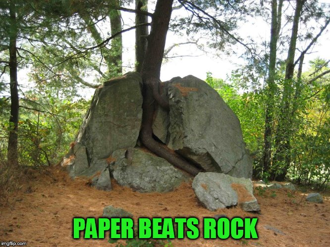 PAPER BEATS ROCK | made w/ Imgflip meme maker
