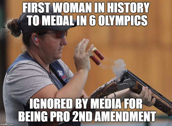 KimRhodeOlympics | FIRST WOMAN IN HISTORY TO MEDAL IN 6 OLYMPICS IGNORED BY MEDIA FOR BEING PRO 2ND AMENDMENT | image tagged in kimrhodeolympics | made w/ Imgflip meme maker