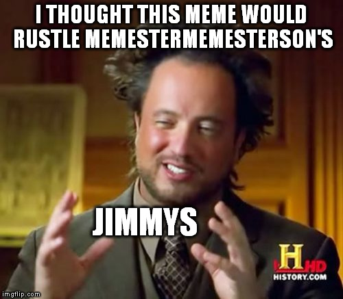 Ancient Aliens Meme | I THOUGHT THIS MEME WOULD RUSTLE MEMESTERMEMESTERSON'S JIMMYS | image tagged in memes,ancient aliens | made w/ Imgflip meme maker
