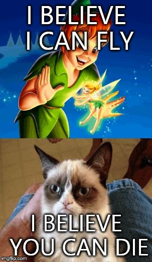 Grumpy Cat Does Not Believe | I BELIEVE I CAN FLY I BELIEVE YOU CAN DIE | image tagged in memes,grumpy cat does not believe | made w/ Imgflip meme maker