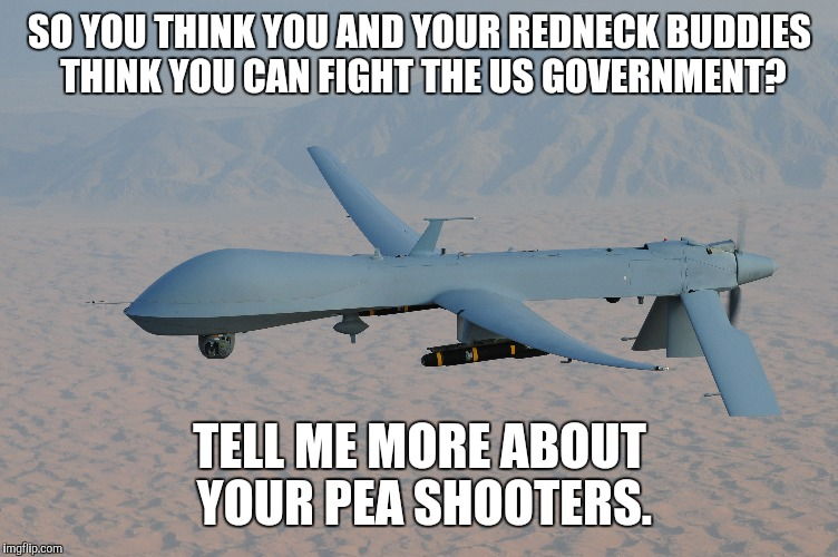 SO YOU THINK AND YOUR REDNECK BUDDIES CAN FIGHT THE US GOVERNMENT