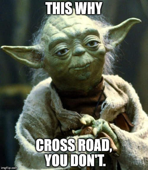 Star Wars Yoda Meme | THIS WHY CROSS ROAD, YOU DON'T. | image tagged in memes,star wars yoda | made w/ Imgflip meme maker