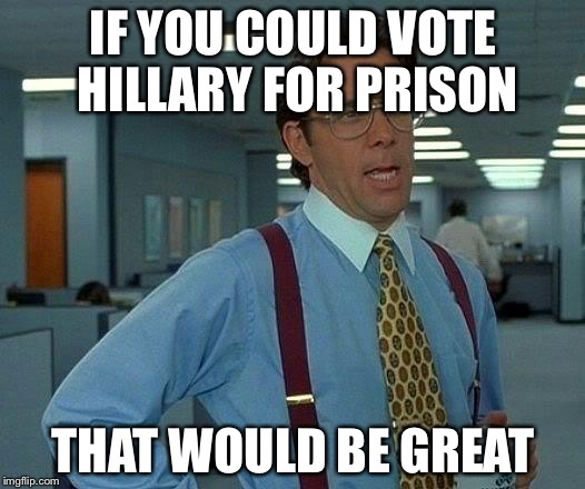 That Would Be Great Meme |  IF YOU COULD VOTE HILLARY FOR PRISON; THAT WOULD BE GREAT | image tagged in memes,that would be great | made w/ Imgflip meme maker