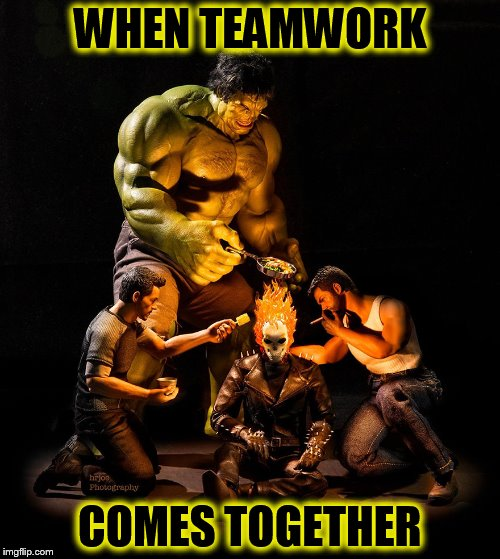Super Hero's 9 (A Forceful Template) | WHEN TEAMWORK COMES TOGETHER | image tagged in super heros 9,funny memes,superheroes,hulk,wolverine,hell rider | made w/ Imgflip meme maker