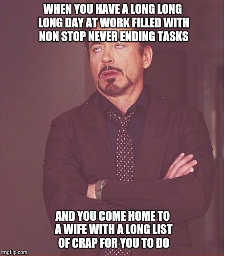 Face You Make Robert Downey Jr Meme | WHEN YOU HAVE A LONG LONG LONG DAY AT WORK FILLED WITH NON STOP NEVER ENDING TASKS AND YOU COME HOME TO A WIFE WITH A LONG LIST OF CRAP FOR  | image tagged in memes,face you make robert downey jr | made w/ Imgflip meme maker