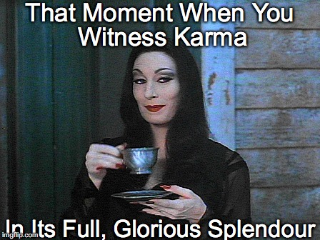 That Moment When You; Witness Karma; In Its Full, Glorious Splendour | image tagged in morticia,tea,mad karma | made w/ Imgflip meme maker