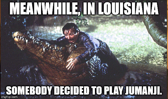 What's going on Louisiana? | MEANWHILE, IN LOUISIANA SOMEBODY DECIDED TO PLAY JUMANJI. | image tagged in flood,louisiana,jumanji,alligator | made w/ Imgflip meme maker