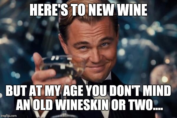 Leonardo Dicaprio Cheers Meme | HERE'S TO NEW WINE BUT AT MY AGE YOU DON'T MIND AN OLD WINESKIN OR TWO.... | image tagged in memes,leonardo dicaprio cheers | made w/ Imgflip meme maker