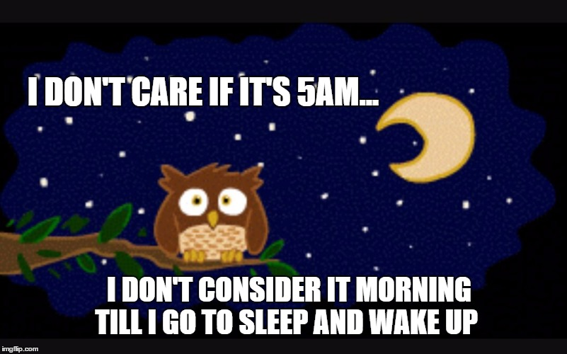 Morning | I DON'T CARE IF IT'S 5AM... I DON'T CONSIDER IT MORNING TILL I GO TO SLEEP AND WAKE UP | image tagged in up all night,night shift,late night | made w/ Imgflip meme maker