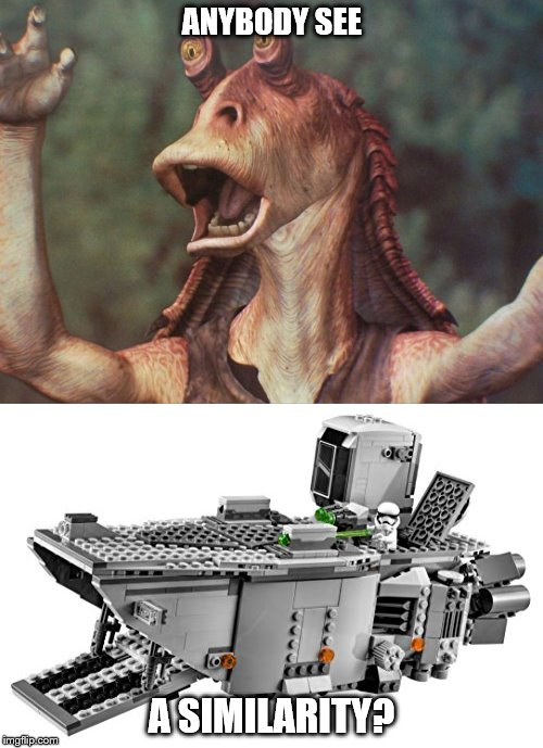 Republic/New Republic Coincidence? |  ANYBODY SEE; A SIMILARITY? | image tagged in star wars,jar jar binks,first order,lego,lego star wars | made w/ Imgflip meme maker