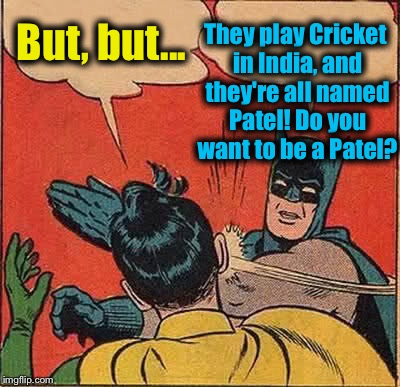 Batman Slapping Robin Meme | But, but... They play Cricket in India, and they're all named Patel! Do you want to be a Patel? | image tagged in memes,batman slapping robin | made w/ Imgflip meme maker