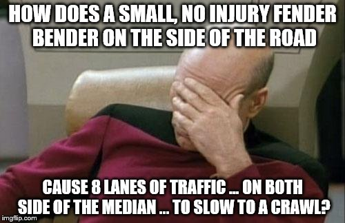 Captain Picard Facepalm Meme | HOW DOES A SMALL, NO INJURY FENDER BENDER ON THE SIDE OF THE ROAD CAUSE 8 LANES OF TRAFFIC ... ON BOTH SIDE OF THE MEDIAN ... TO SLOW TO A C | image tagged in memes,captain picard facepalm | made w/ Imgflip meme maker