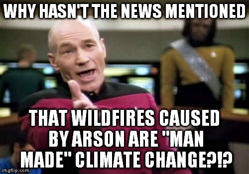 "The media usually loves blaming us for the weather! | WHY HASN'T THE NEWS MENTIONED THAT WILDFIRES CAUSED BY ARSON ARE ""MAN MADE"" CLIMATE CHANGE?!? 