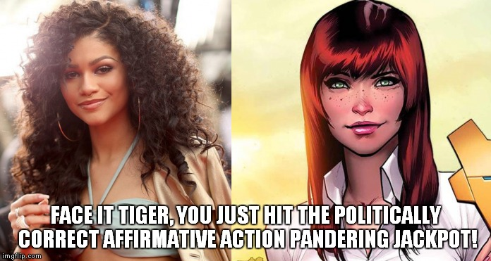 Zendaya as Mary Jane |  FACE IT TIGER, YOU JUST HIT THE POLITICALLY CORRECT AFFIRMATIVE ACTION PANDERING JACKPOT! | image tagged in spiderman,marvel comics,zendaya,memes,comics | made w/ Imgflip meme maker