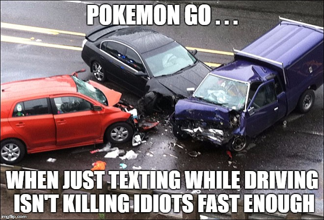 Reduce the surplus population... |  POKEMON GO . . . WHEN JUST TEXTING WHILE DRIVING ISN'T KILLING IDIOTS FAST ENOUGH | image tagged in pokemon go,texting,crash,darwin | made w/ Imgflip meme maker