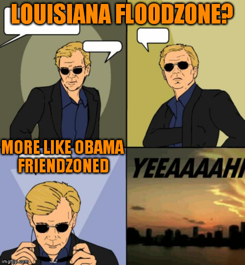Horatio CSI Miami | LOUISIANA FLOODZONE? MORE LIKE OBAMA FRIENDZONED | image tagged in horatio csi miami | made w/ Imgflip meme maker