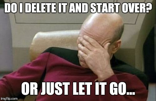 Captain Picard Facepalm Meme | DO I DELETE IT AND START OVER? OR JUST LET IT GO... | image tagged in memes,captain picard facepalm | made w/ Imgflip meme maker