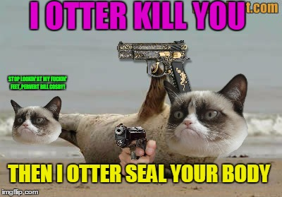 STOP LOOKIN' AT MY F**KIN' FEET, PERVERT BILL COSBY! I OTTER KILL YOU THEN I OTTER SEAL YOUR BODY | made w/ Imgflip meme maker